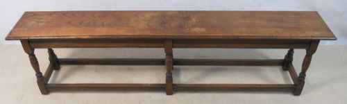 Antique Jacobean Style Long Oak Bench Seat - SOLD